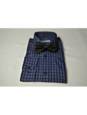 Мужская рубашка синяя в клетку SE