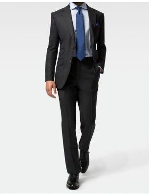 Приталенный мужской костюм темно-синий SE