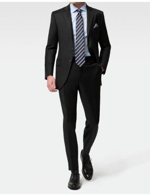 Приталенный мужской костюм черного цвета SE