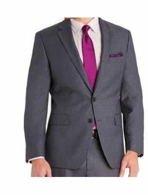 Мужской костюм приталенный серого цвета SE