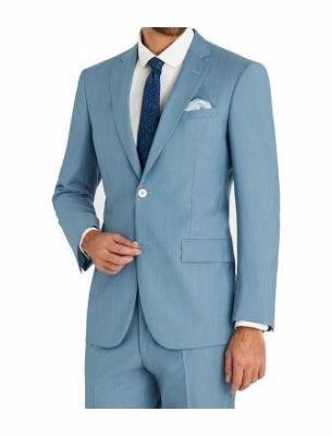 Стильный мужской костюм голубого цвета SE