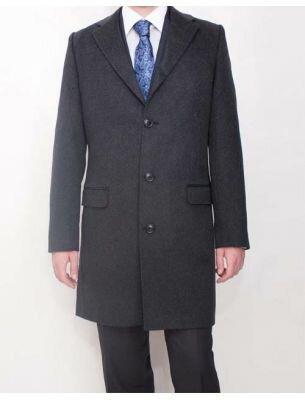 Серое приталенное мужское пальто SE