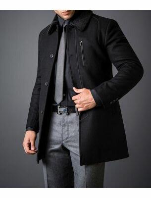 Мужское пальто-куртка черного цвета SE