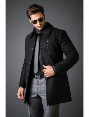 Молодежное пальто мужское черное SE