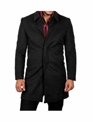 Мужское пальто приталенное черного цвета SE