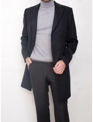 Элегантное мужское пальто серого цвета SE