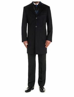 Мужское пальто приталенное черное SE