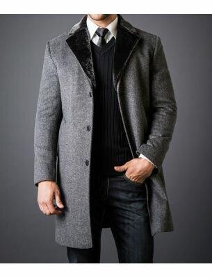 Мужское пальто серое драповое SE