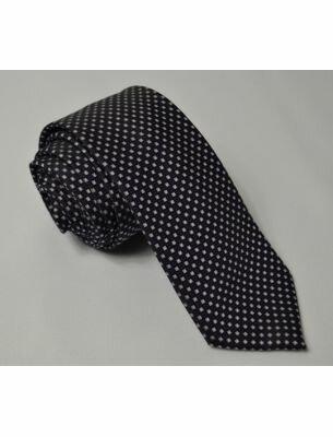 Черный мужской галстук с белыми вкраплениями